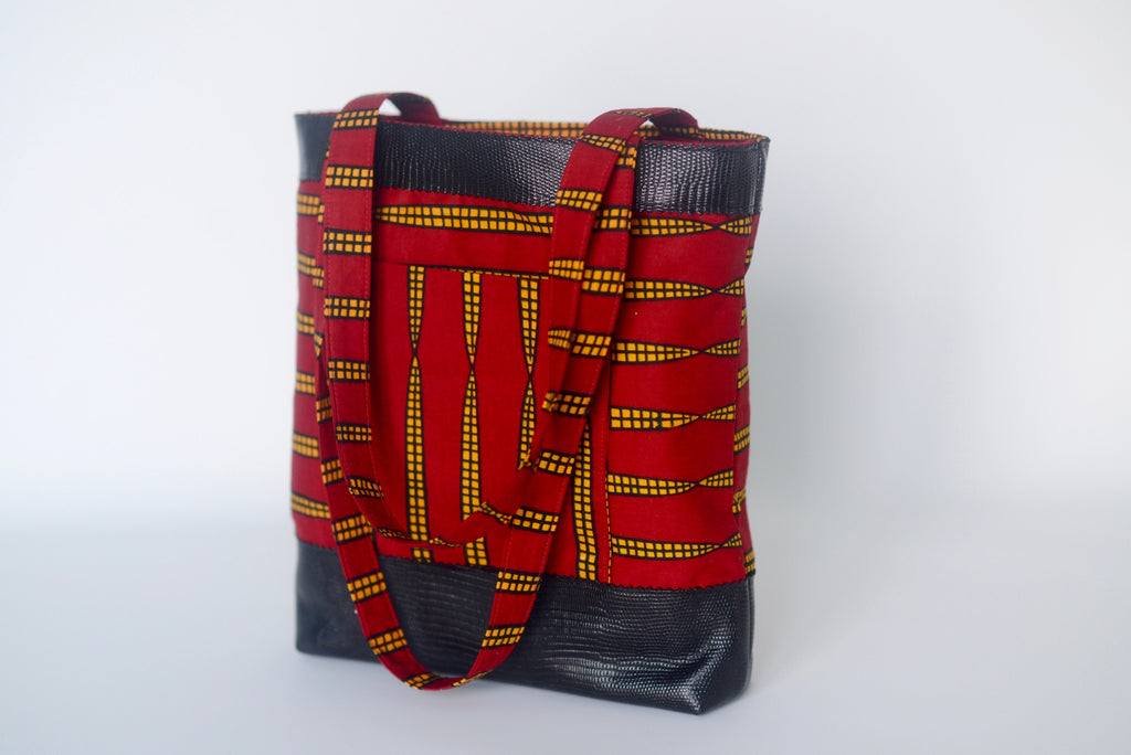 Ekpeti (Tote bag) with leather - Red/Yellow