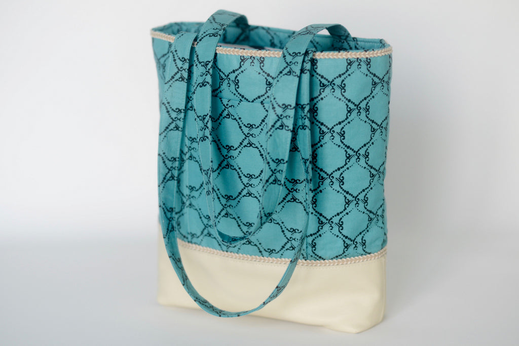 Ekpeti (Tote bag) with leather - Teal