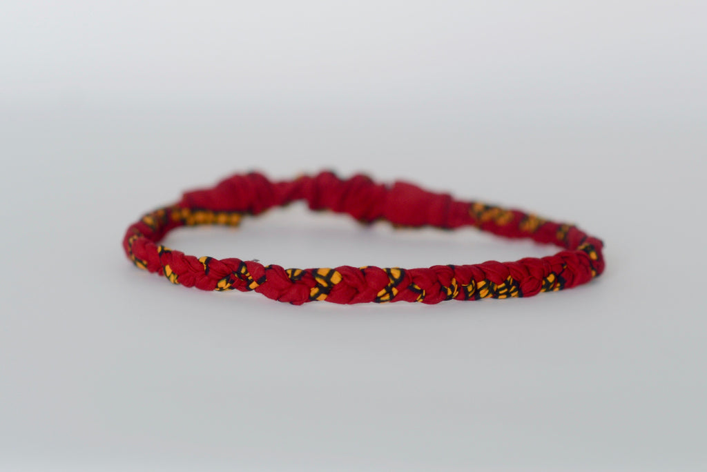 Braided Headband - Red/Yellow