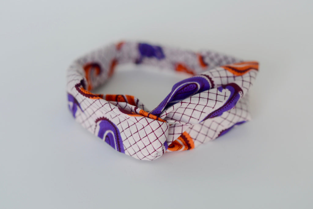 Turban Headband - Orange/Purple/Cream