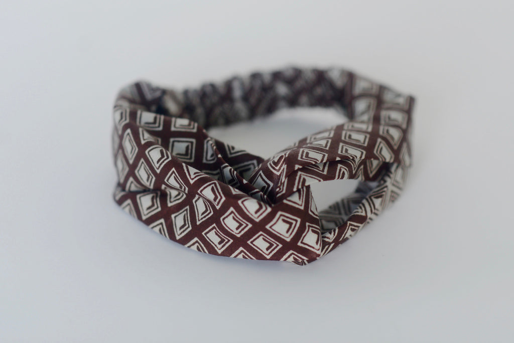 Turban Headband - Brown/Cream
