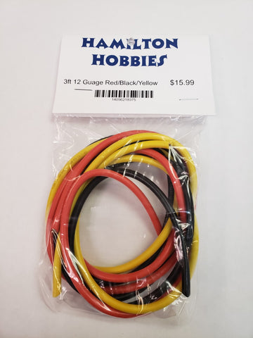 3FT 12 GUAGE WIRE -RED-BLACK-YELLOW