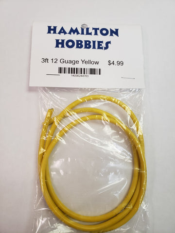 3FT 12 GUAGE WIRE - YELLOW