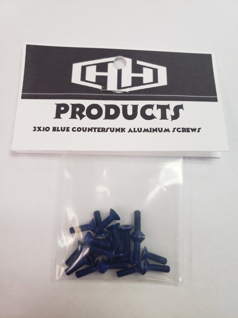 3X10 7075 ALUM BLUE COOUNTERSUNK SCREWS (20)