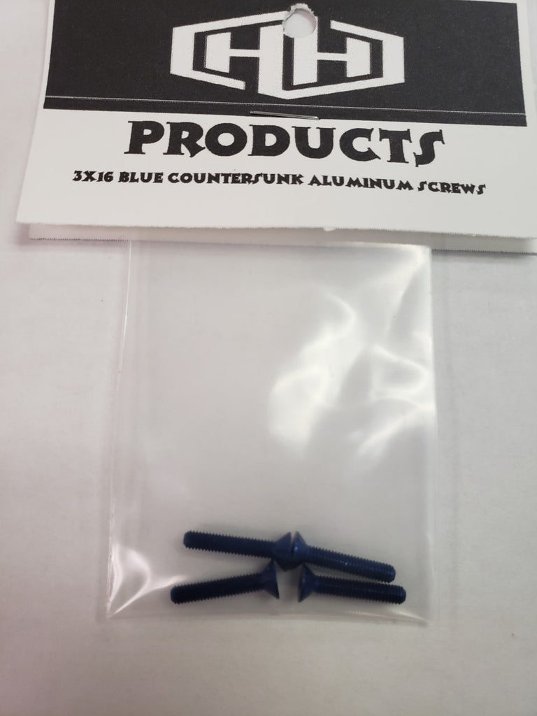 3X16 7075 ALUM BLUE COUNTERSUNK SCREWS (HAM128541)