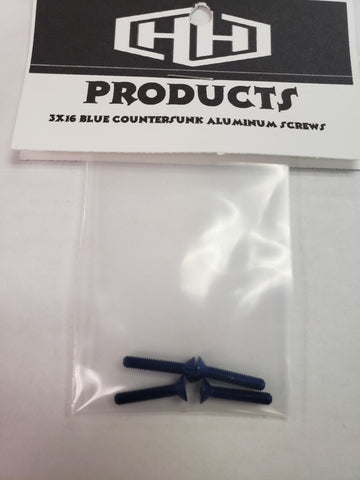 3X16 7075 ALUM BLUE COOUNTERSUNK SCREWS (4)