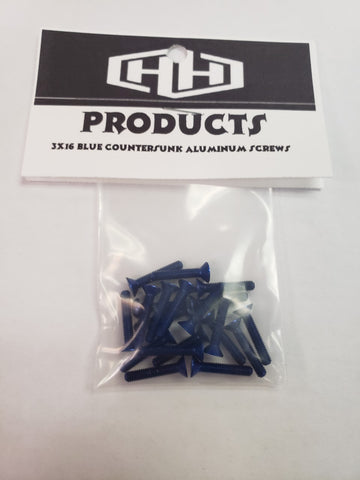 3X16 7075 ALUM BLUE COOUNTERSUNK SCREWS (20)