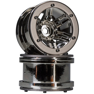 "Axial Rocksters 2.2"" Beadlock Wheel Black Chrome (2) (AX8095)"