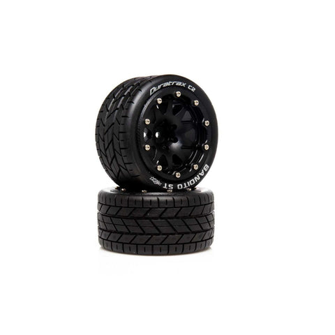 DuraTrax .5 Offset Black Bandito ST Belted 2.8 2WD Mounted Rear Tires (2) (DTXC5531)