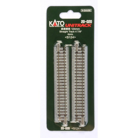Kato USA N 124mm (4 7/8″) Straight Track [4 pcs]  (KAT20020)