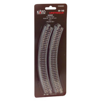 Kato USA N 249mm 9-3/4 Radius Curve 45-Degre (KAT20100)