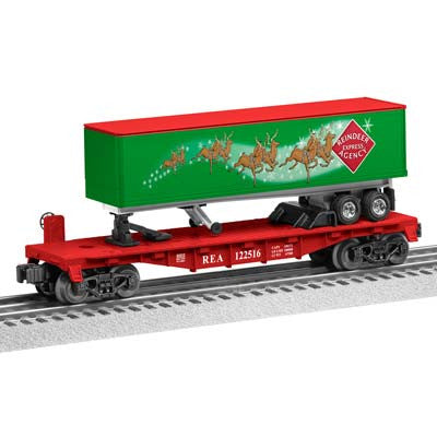 Lionel  REA Reindeer Express Agency Flatcar with long Trailer  (LNL683313)