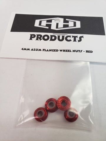 4MM flanged nylon locking nut (aluminum, red-anodized, serrated) (4)