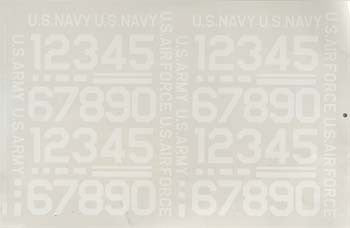 "Major Decals 2"" White Numbers Pressure Decals (MAJ403PW)"