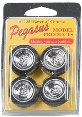 Pegasus Hobbies 1/24-1/25 Chrome Reverse Rims/Tires (4) (PGH1125)