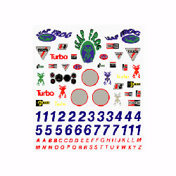 PineCar Dry Transfer Decals, Sponsors & Numbers (PIN306)