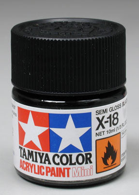 Tamiya Acrylic Mini X-18 Semi Gloss Black 1/3 oz (TAM81518)