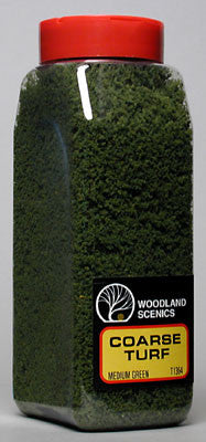 WOODLAND SCENICS TURF COARSE MED GREEN 32 OZ. (WOOT1364)