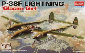 Academy 1/48 P38F Lightning Glacier Girl WWII Fighter (ACY1228)