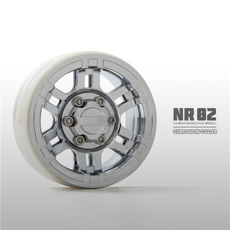 "Gmade NRO2 1.9"" Beadlock Wheels, Chrome (GMA70265)"