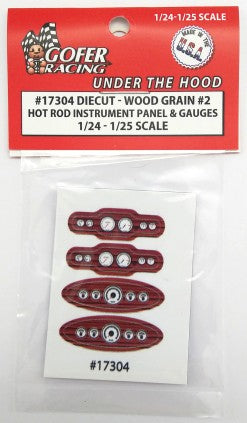 1/24-1/25 Hot Rod Instrument Panel & Gauges Wood Grain #2 (Diecut Plastic) (GOF17304)
