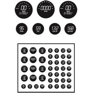 Model Car Garage 1/24-1/25 Gauges Digital Clear/Black Background (MCG-2058)