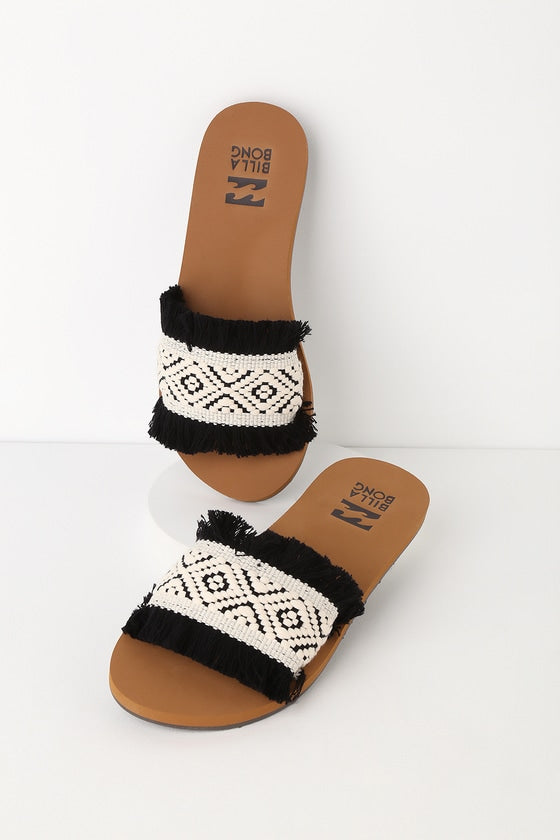 ONE WAY BLACK AND WHITE WOVEN SLIDE SANDALS BILLABONG