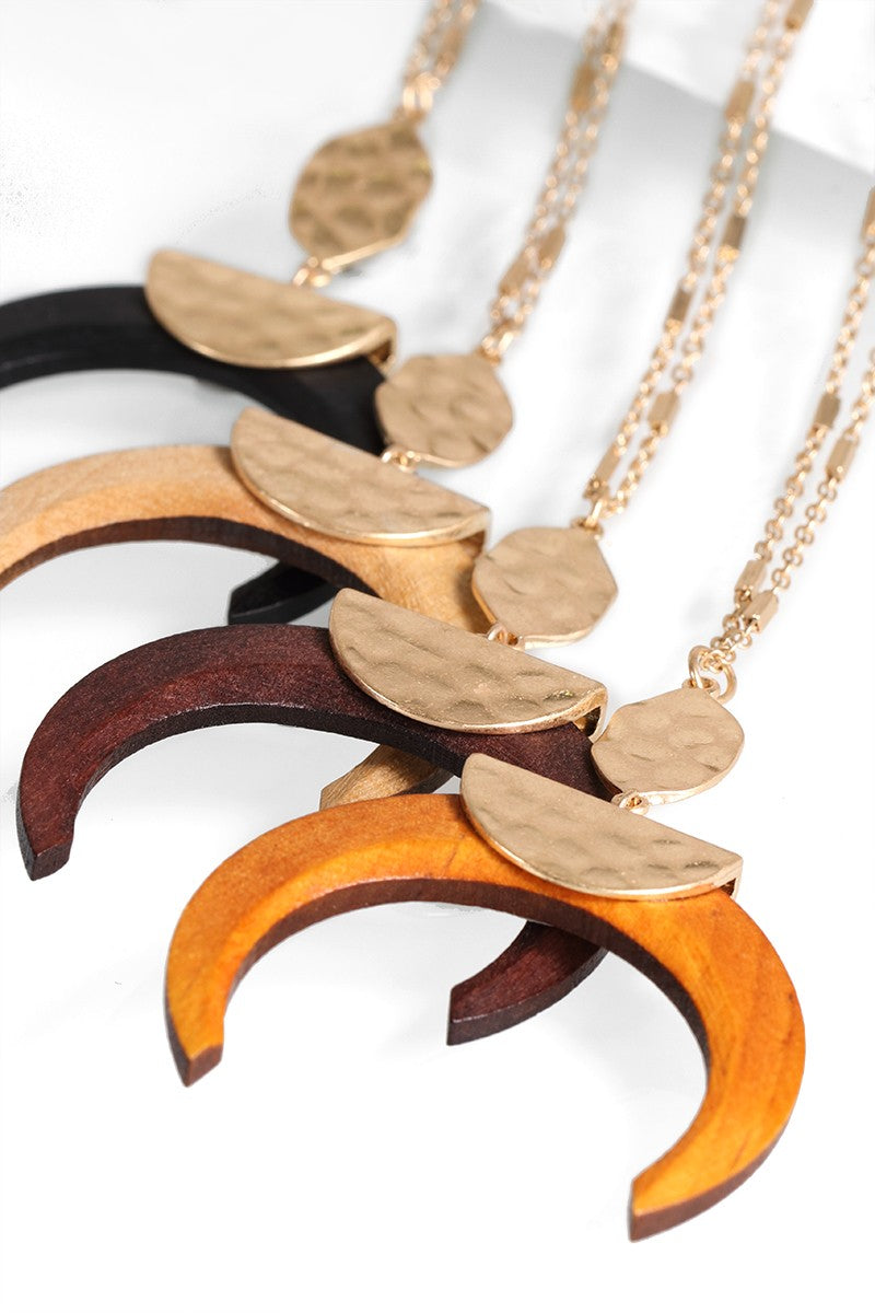 Wood Crescent Horn Pendant Necklace