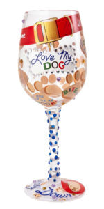 Love my Dog Wine Glass Front View