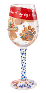 Love my Dog Wine Glass Back View