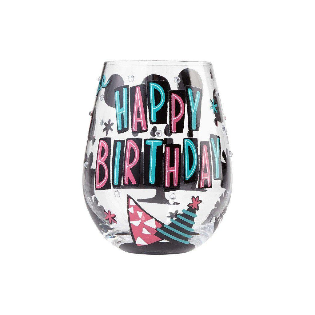 Happy Day Birthday Stemless Wine Glass by Lolita®-Lolita Wine Glasses.com