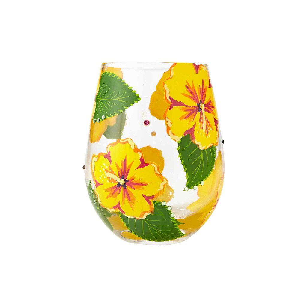 Hibiscus Stemless Wine Glass by Lolita®-Lolita Wine Glasses.com
