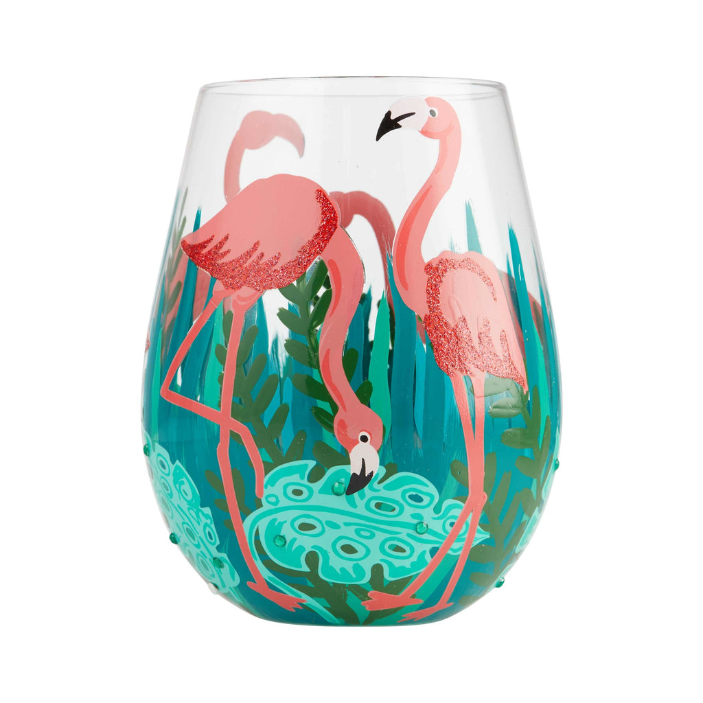 Fancy Flamingo Stemless Wine Glass by Lolita®