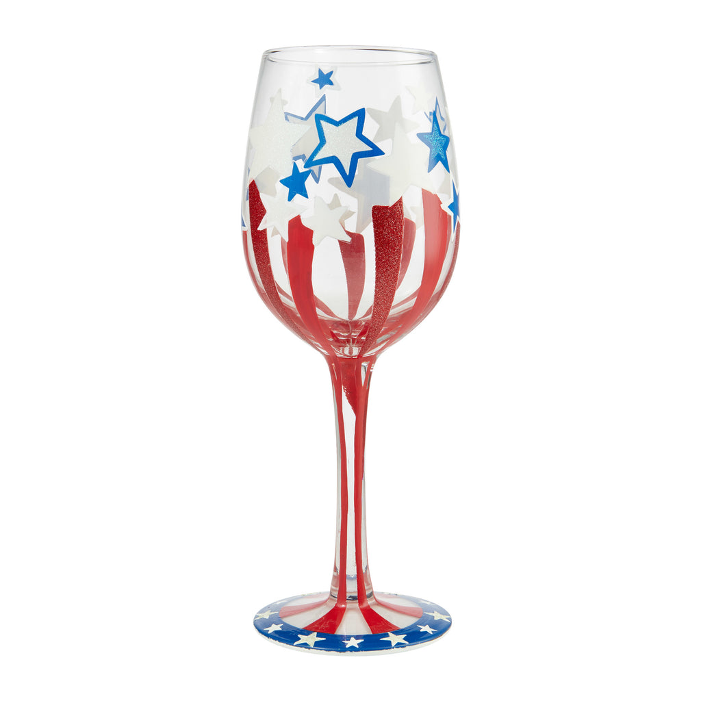 Land Of The Free Wine Glass by Lolita®
