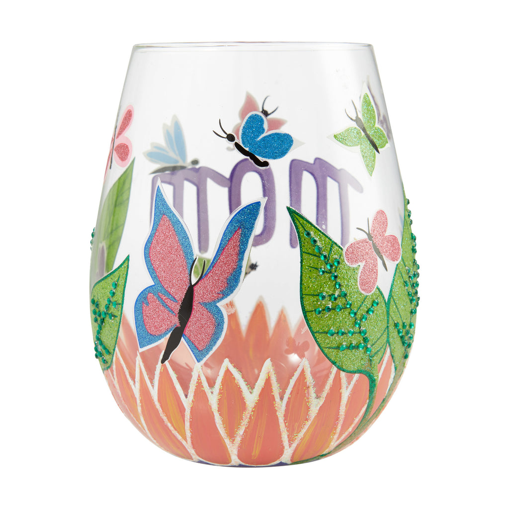 Mom, You Helped Me Fly Stemless Wine Glass by Lolita®