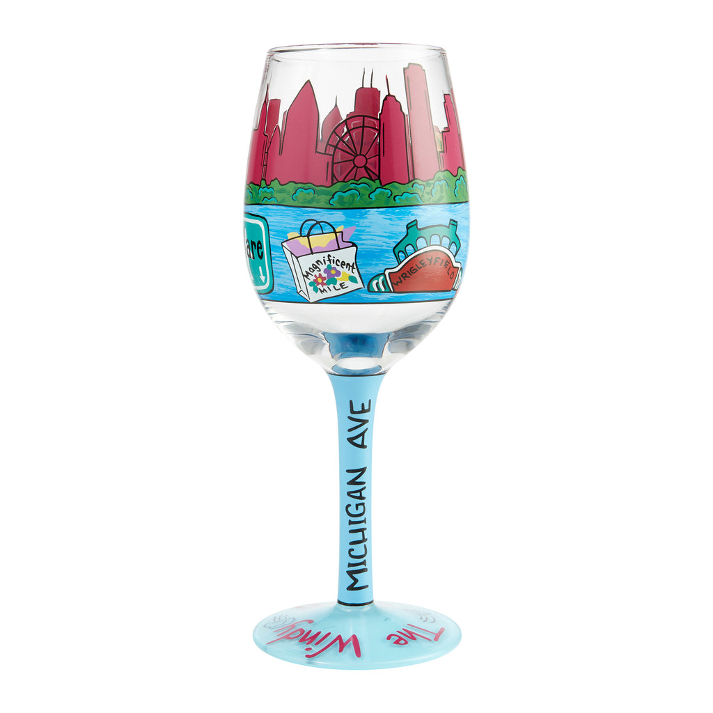 Chicago The Windy City Wine Glass by Lolita®