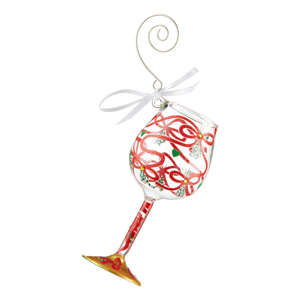 Meet Me Under the Mistletoe Mini Wine Glass Ornament by Lolita®