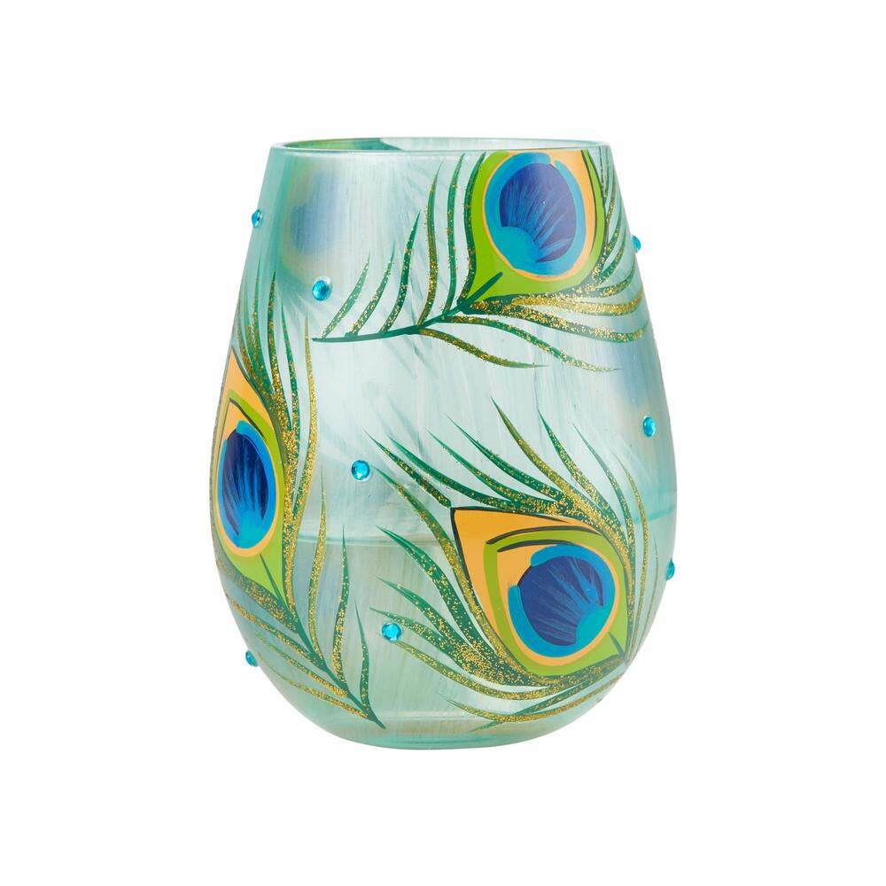 Peacock Stemless Wine Glass by Lolita®