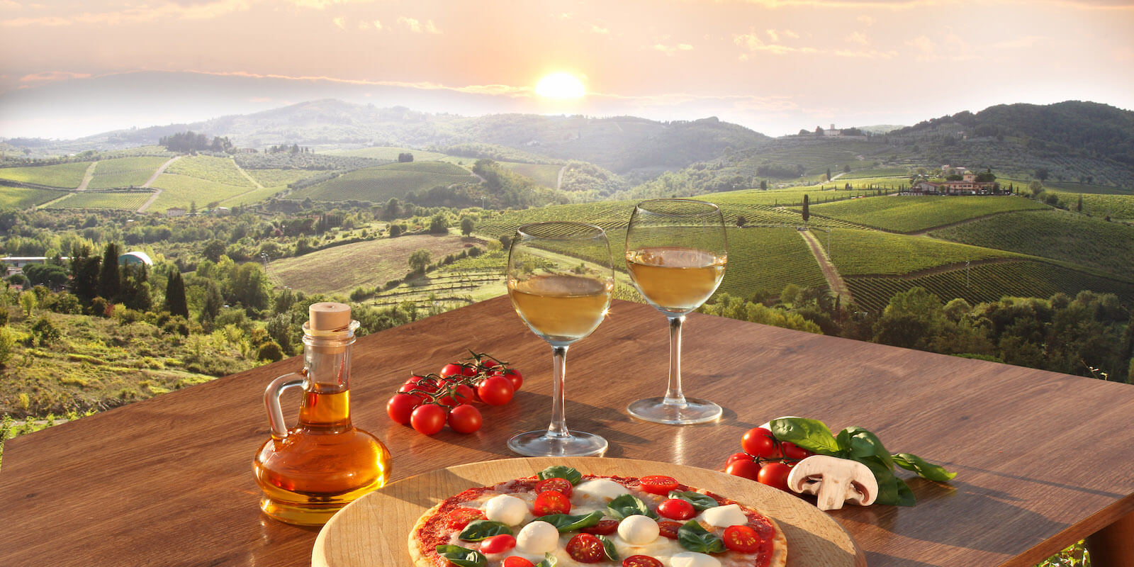 Wine and Pizza, Tuscany, Italy