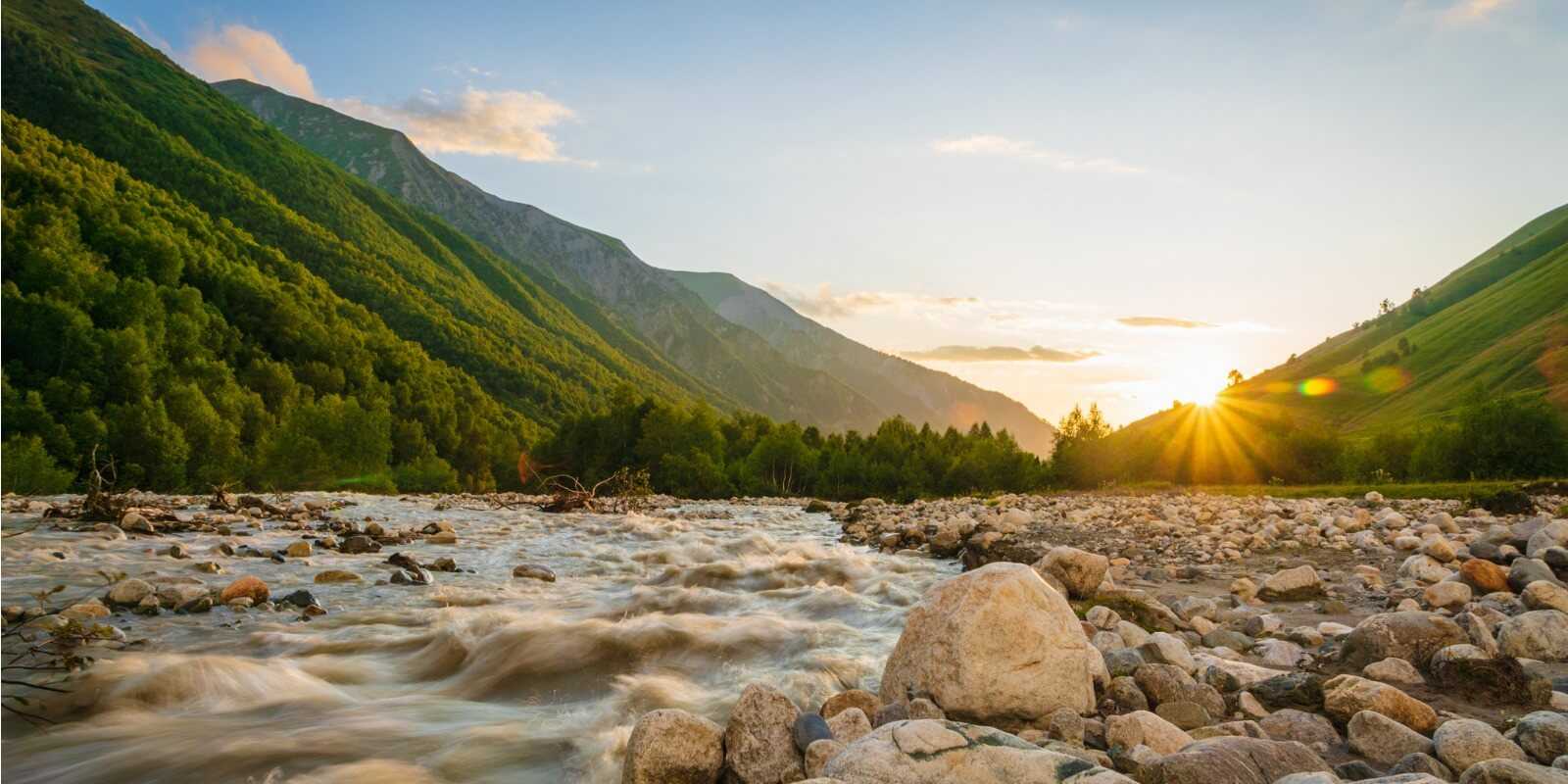 Svaneti Sunset over River Rocks