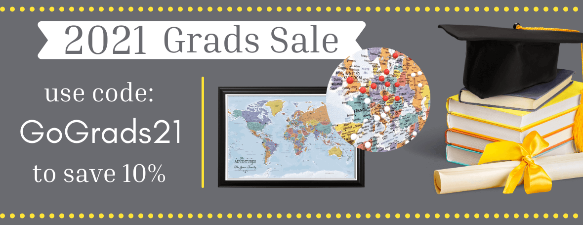 Grads Sale - Push Pin Travel Maps