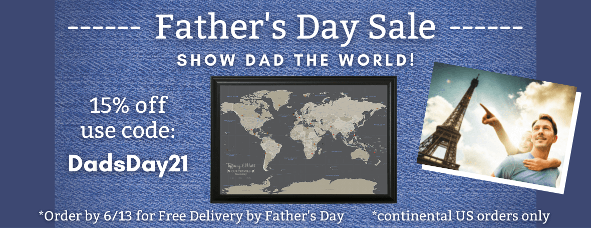 Push Pin Travel Maps Fathers Day Sale