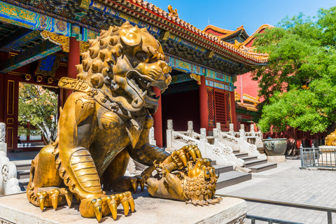 Bronze lion in front of the Hall of Supreme Harmony in Beijing Forbidden City,