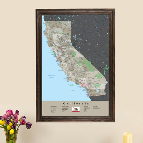 Earth Toned California Travel Map with Pins