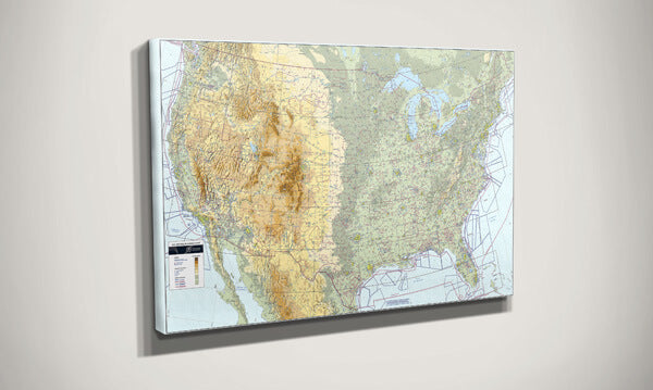 Pilots VFR Wall Planning Map USA Close Up