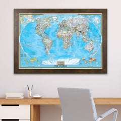 Classic World Wall Map with Pins