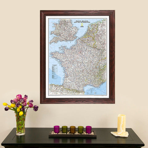 Classic France, Belgium, and The Netherlands Nat Geo Wall Map