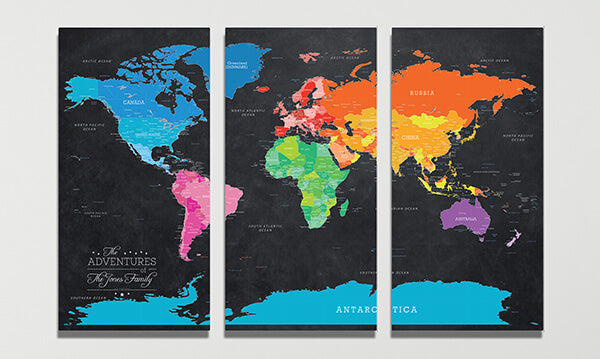 3 Panel Bright Night World Canvas Map