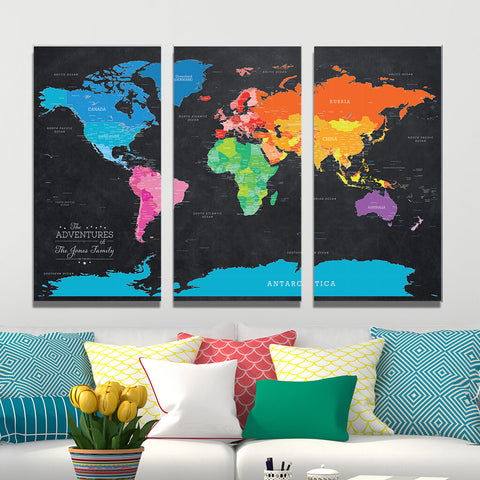 Oversize Canvas Wall Map, 3 Panel Style