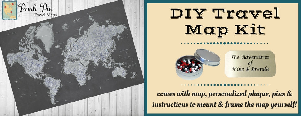 DIY Stormy Dreams World Push Pin Travel Map Kit EBay - Create your own travel map